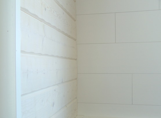 Hirsipaneeli 28x195 valkoinen ja 9x290x950